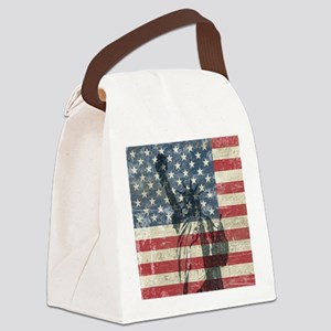 Vintage Statue Of Liberty Canvas Lunch Bag