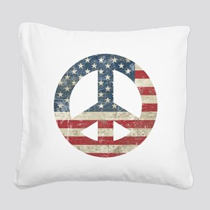 Vintage Peace In America Square Canvas Pillow