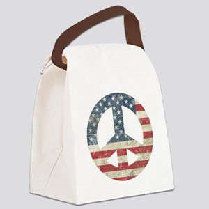 Vintage Peace In America Canvas Lunch Bag