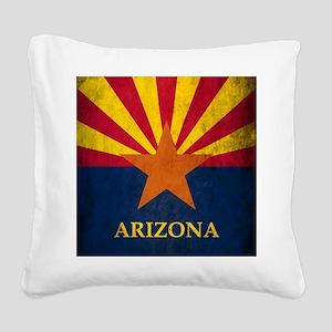 Grunge Arizona Flag Square Canvas Pillow