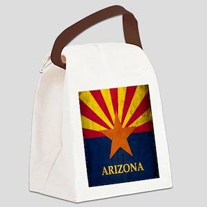 Grunge Arizona Flag Canvas Lunch Bag