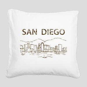 Vintage San Diego Square Canvas Pillow