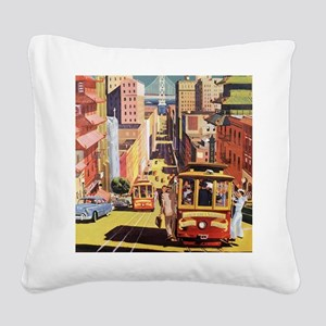 Vintage San Francisco Square Canvas Pillow