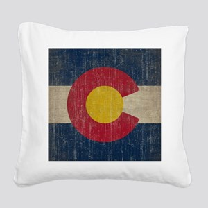 Vintage Colorado Flag Square Canvas Pillow