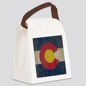 Vintage Colorado Flag Canvas Lunch Bag