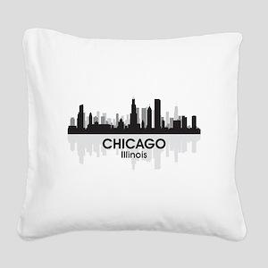 Chicago Skyline Square Canvas Pillow
