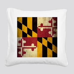 Grunge Maryland Flag Square Canvas Pillow