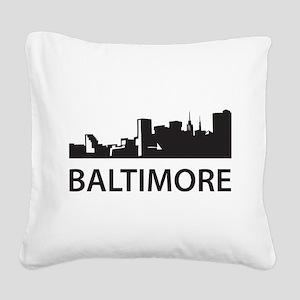 Baltimore Skyline Square Canvas Pillow
