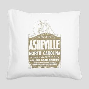 Vintage Asheville Square Canvas Pillow