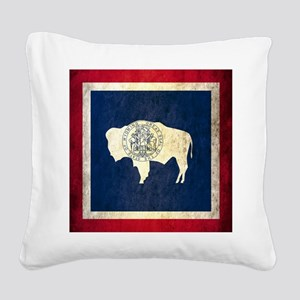 Grunge Wyoming Flag Square Canvas Pillow