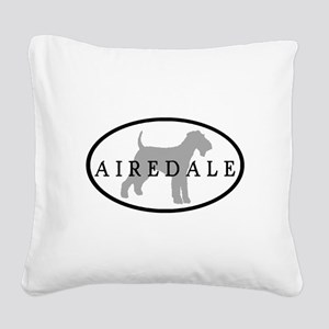 grey black airedale oval Square Canvas Pillow
