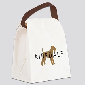 airedale dog text Canvas Lunch Bag