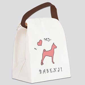 love my basenji pink Canvas Lunch Bag