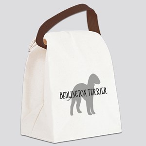 bedlington terrier dog greytxt Canvas Lunch Ba