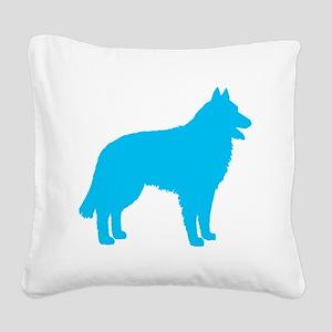 Blue Belgian Sheepdog Square Canvas Pillow