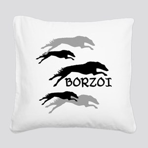 Many Borzois Running Square Canvas Pillow