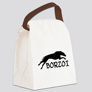 running borzoi with text sqwh2 Canvas Lunch Ba