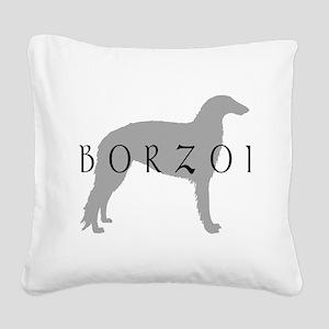 borzoi grey blk Square Canvas Pillow