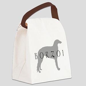 borzoi grey blk Canvas Lunch Bag
