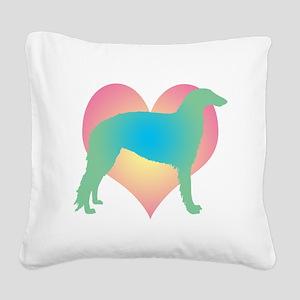 borzoi heart multi Square Canvas Pillow