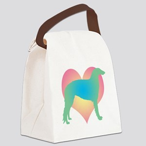 borzoi heart multi Canvas Lunch Bag
