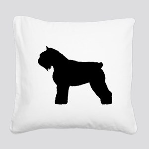 bouvier des flandres white Square Canvas Pillo