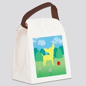yellow chihuahua landscape Canvas Lunch Bag