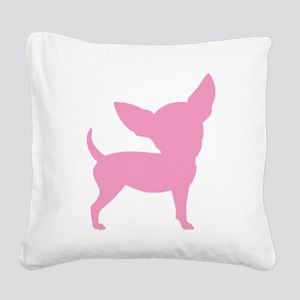 silly chihuahua pink Square Canvas Pillow