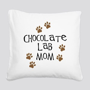 Chocolate Lab Mom Square Canvas Pillow