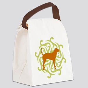 2-lime and rust Canvas Lunch Bag