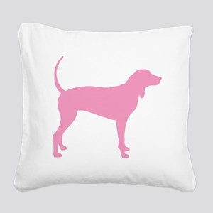 Pink Coonhound Square Canvas Pillow