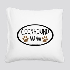 coonhound mom oval Square Canvas Pillow