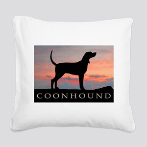 coonhound sunset Square Canvas Pillow