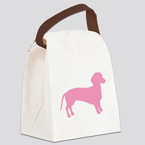 2-dachshund two pink Canvas Lunch Bag