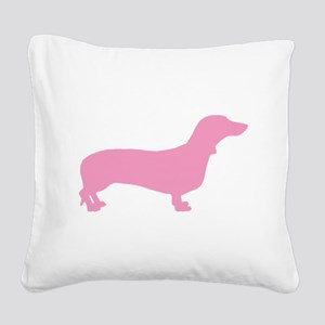 dachshund pink Square Canvas Pillow
