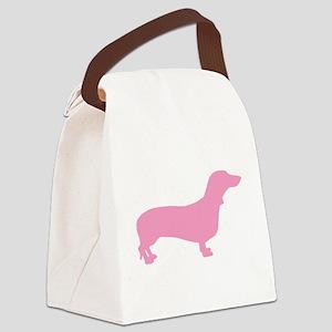 dachshund pink Canvas Lunch Bag