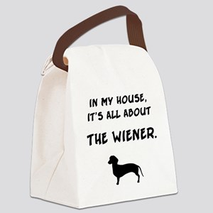 wiener in my house Canvas Lunch Bag