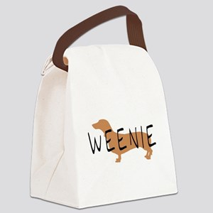 brown black weenie fun text Canvas Lunch Bag