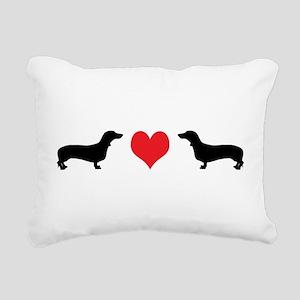 2 dachshunds w heart 2 Rectangular Canvas Pill