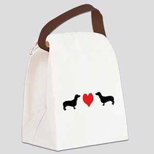 2 dachshunds w heart 2 Canvas Lunch Bag