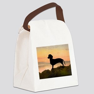 dachshund sunset t-shirt Canvas Lunch Bag