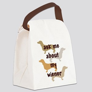 ask me about my wiener jpg Canvas Lunch Bag