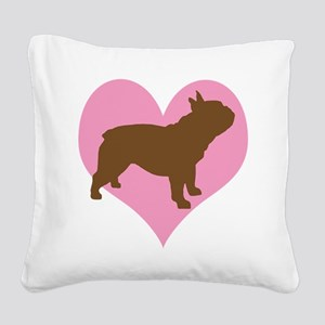 french bulldog pink heart Square Canvas Pillow