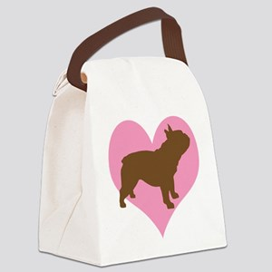 french bulldog pink heart Canvas Lunch Bag