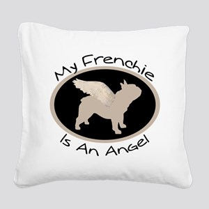 french bulldog wings oval text Square Canvas P