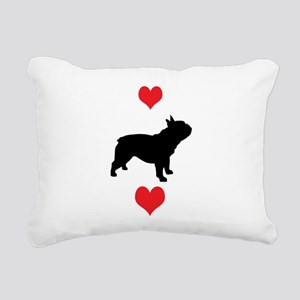french bulldog red hearts Rectangular Canvas P
