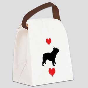 french bulldog red hearts Canvas Lunch Bag