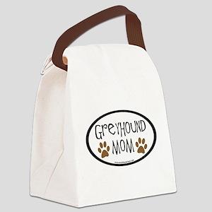 greyhound mom oval Canvas Lunch Bag