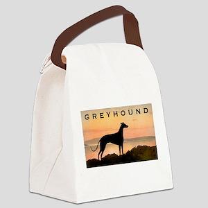 sunset greyhound wide text Canvas Lunch Bag