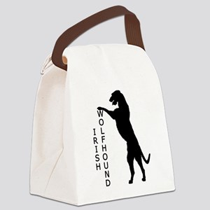 irish wolfhound standing text2 Canvas Lunch Ba